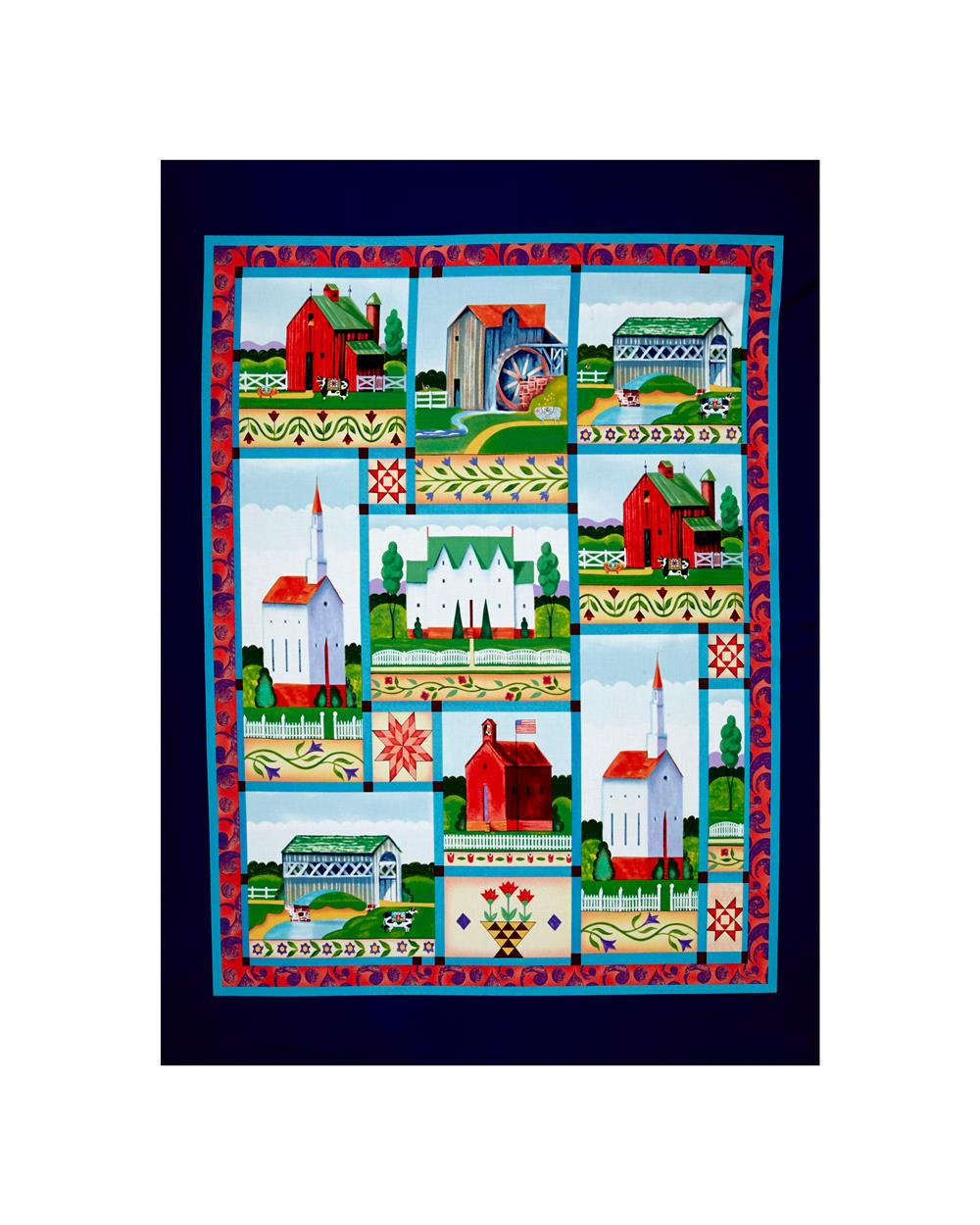 Jim Shore  Village Farm 35 In. Panel Blue Fabric By The Yard