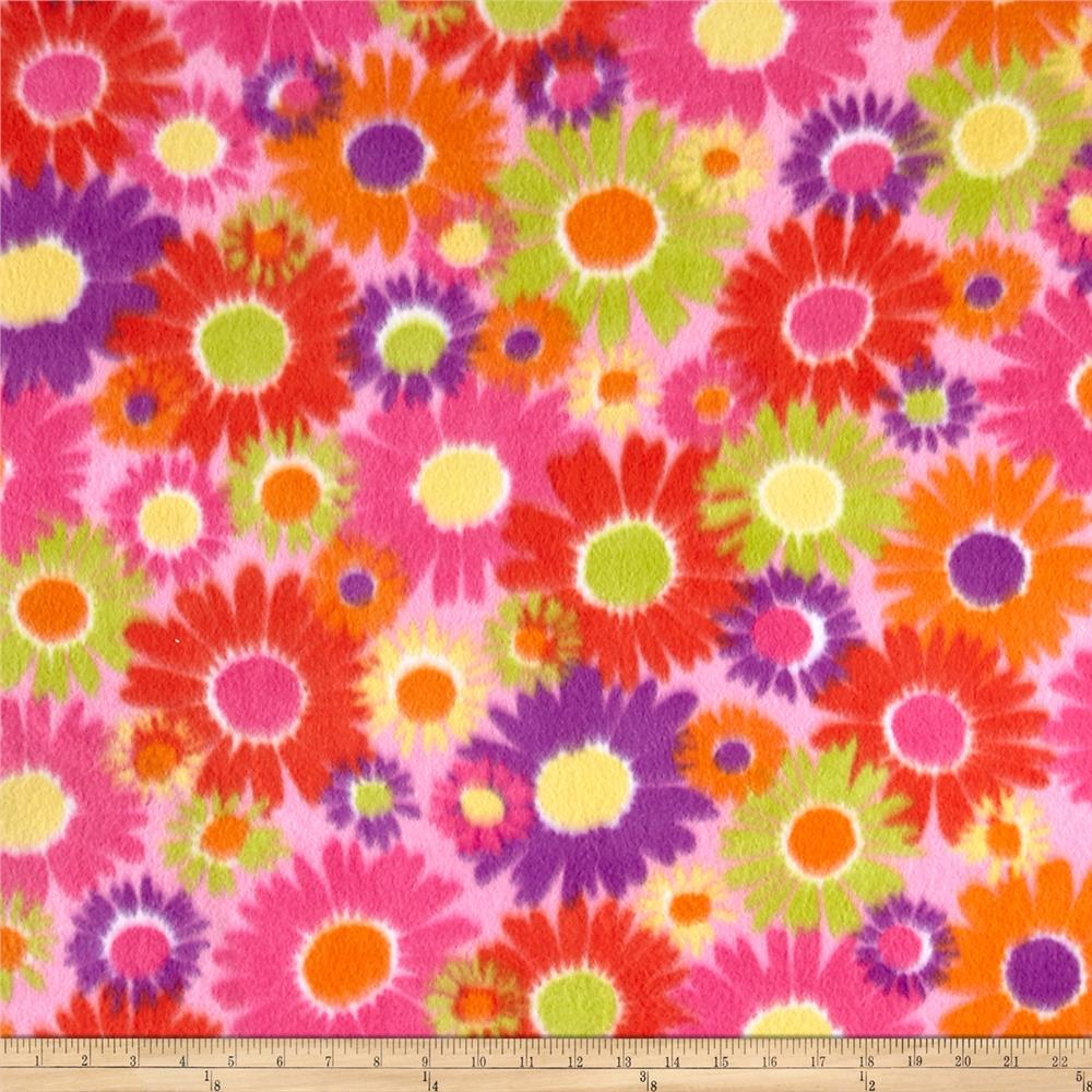 Polar Fleece Print Anouk Flower Power Pink Fabric