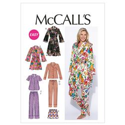 McCall's Misses' Robe, Belt, Tops, Shorts and Pants
