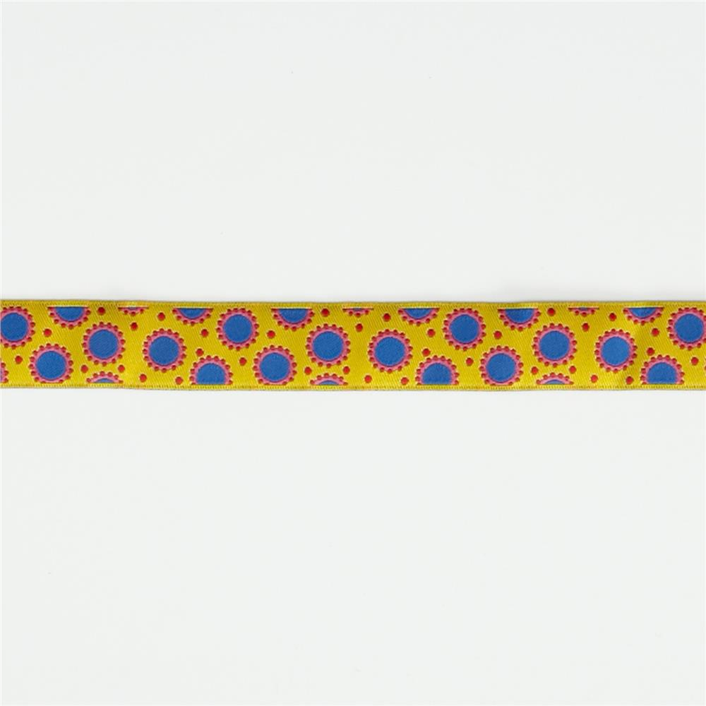 7/8'' Jane Sassaman Yellow & Blue Dotty Dots Ribbon Fabric By The Yard