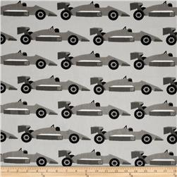 Kaufman Minky Cuddle Boys Toys Speedster Silver Fabric