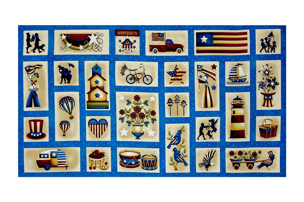 "Libertyville Patriotic Folk Blocks 24.5"" Panel Multi"