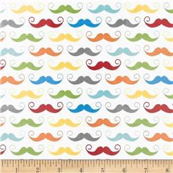 Riley Blake Geekly Chic Laminated Cotton Mustache White