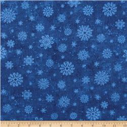 Timeless Treasures Winter Memories Flannel Snowflakes Blue