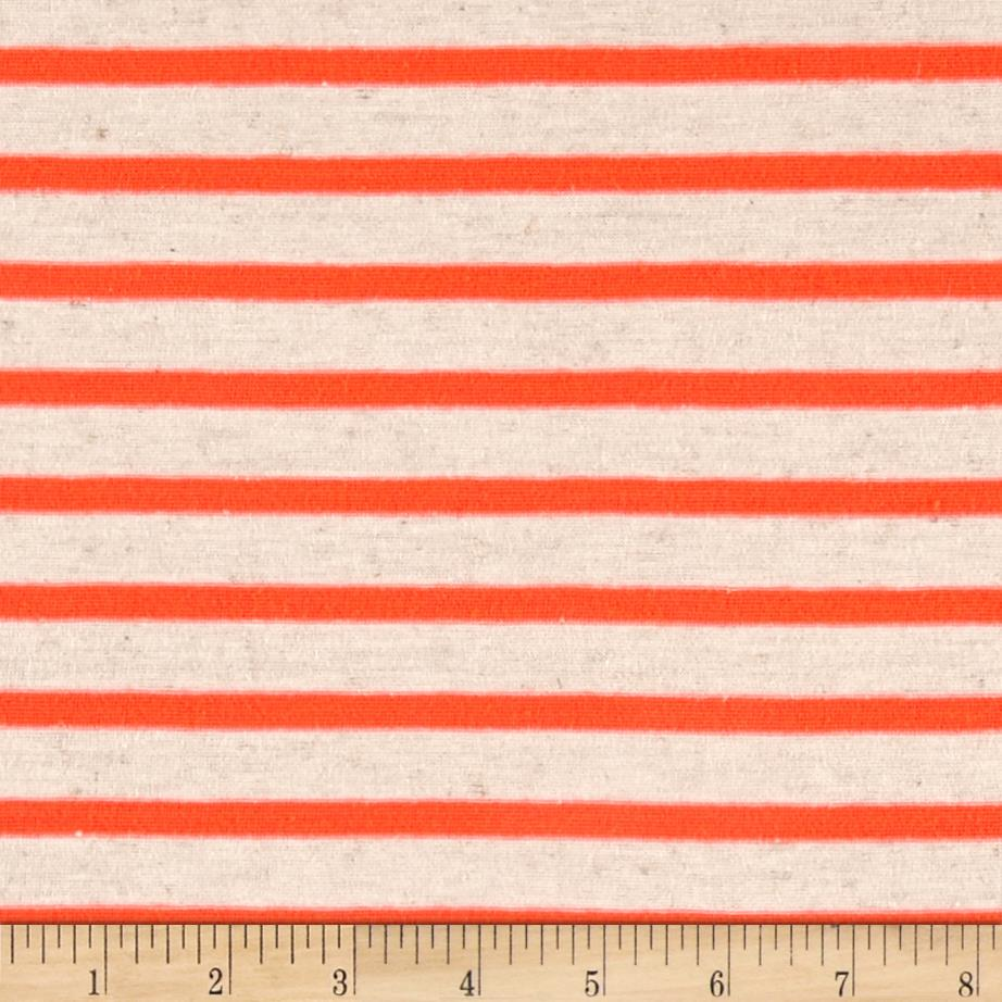 Jersey Knit Small Stripe Neon Orange on Ivory  Fabric By The Yard