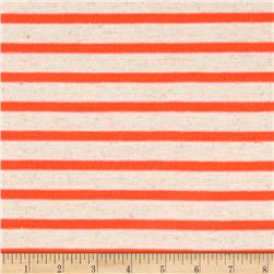 Jersey Knit Small Stripe Neon Orange on Ivory