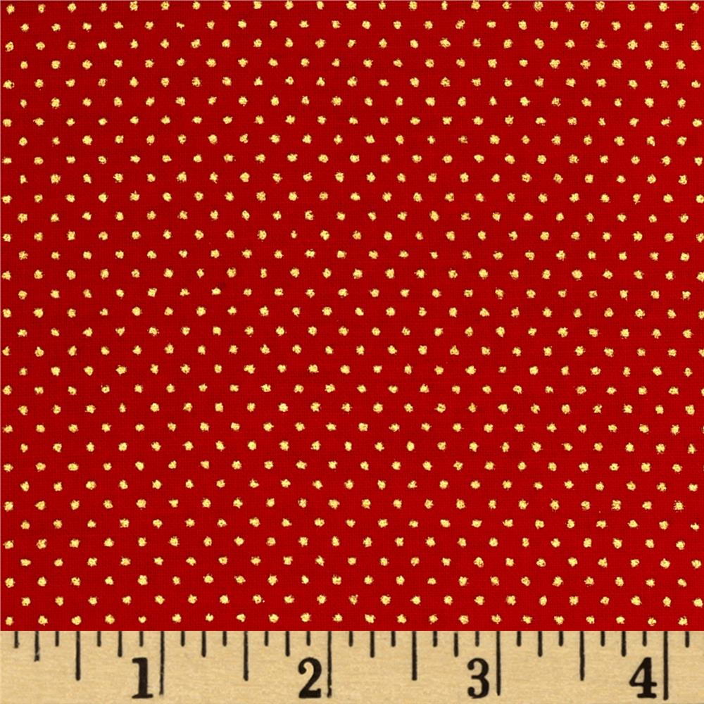 Christmas Jewels Dots Metallic Gold/Red