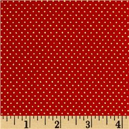 Christmas Jewels Dots Metallic Gold/Red Fabric