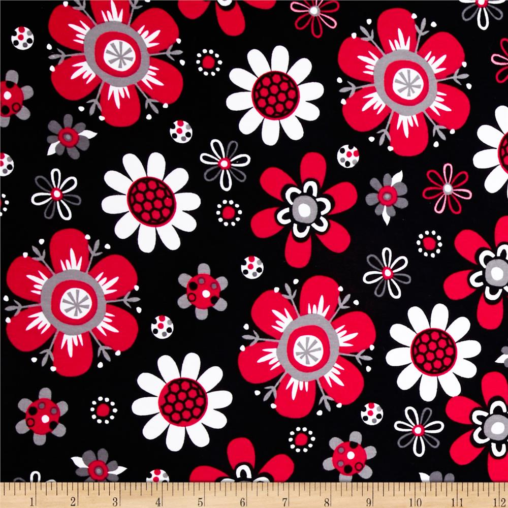 Laguna Stretch Cotton Jersey Flower Red