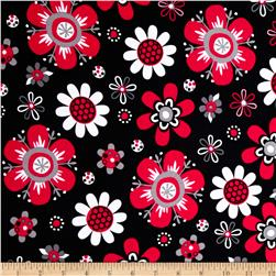 Kaufman Laguna Stretch Jersey Knit Flower Red
