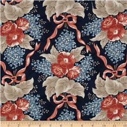 Moda Grant Park Ribbons & Blooms Navy