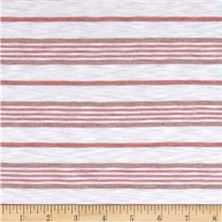 Designer Yarn Dyed Slub Jersey Knit Stripes White/Pink