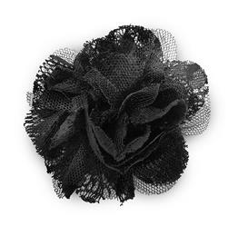 "4"" Lace Flower Brooch And Hairclip Black"