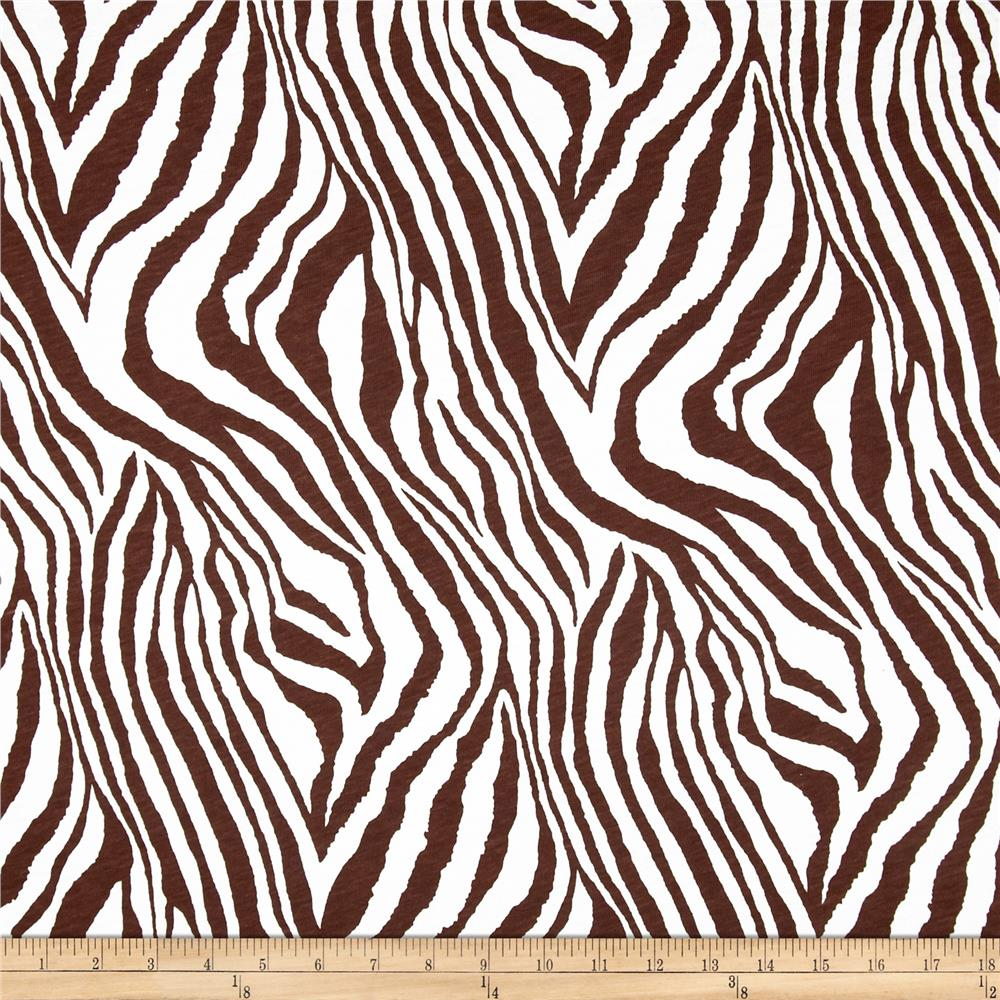 Cotton Jersey Knit Zebra Brown/White