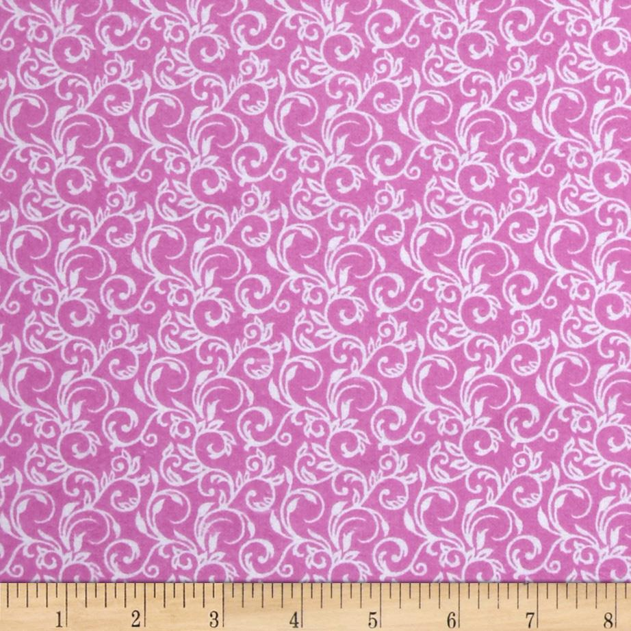 Basics Flannel Scroll Light Pink