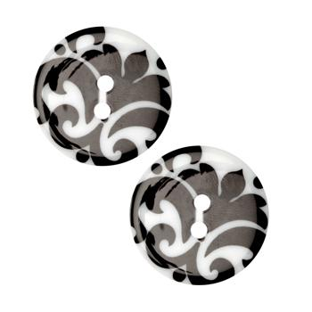 Fashion Button 1''  Damask White/Black