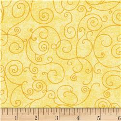 110'' Wide Flannel Quilt Backing Willow Yellow Fabric