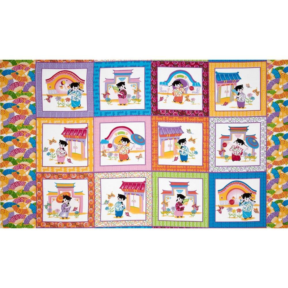 Lantern Festival Geisha Blocks Panel Pink
