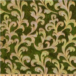 Metallic Indian Batik Large Scroll Olive