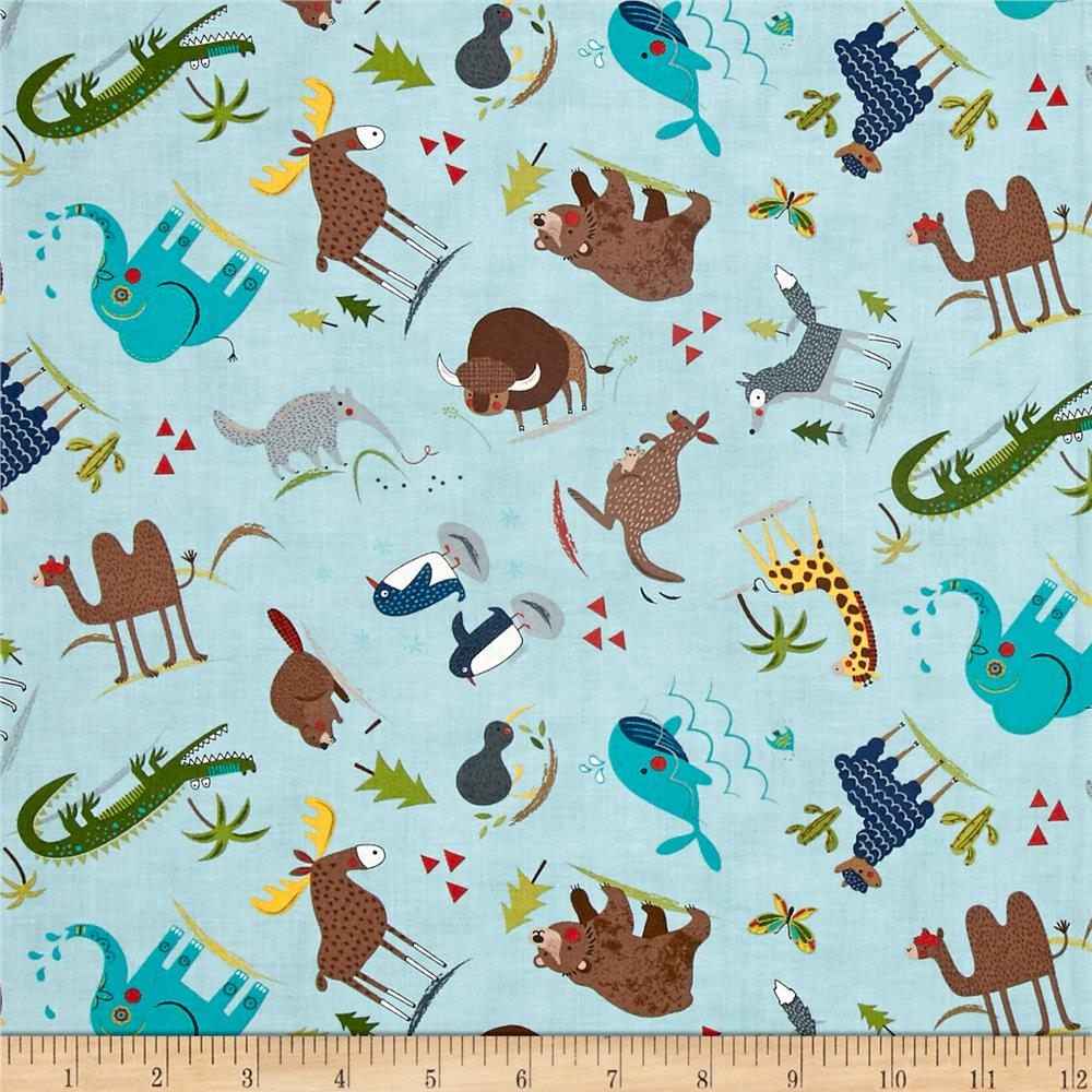 Moda hello world wild things sky discount designer for Fabric world