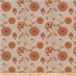 Fabricut  Embroidered Linen Dory Floral Sienna