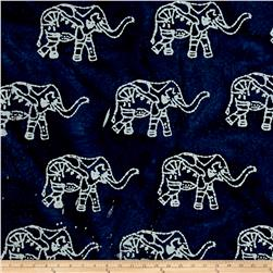 Indian Batik Elephant Indigo