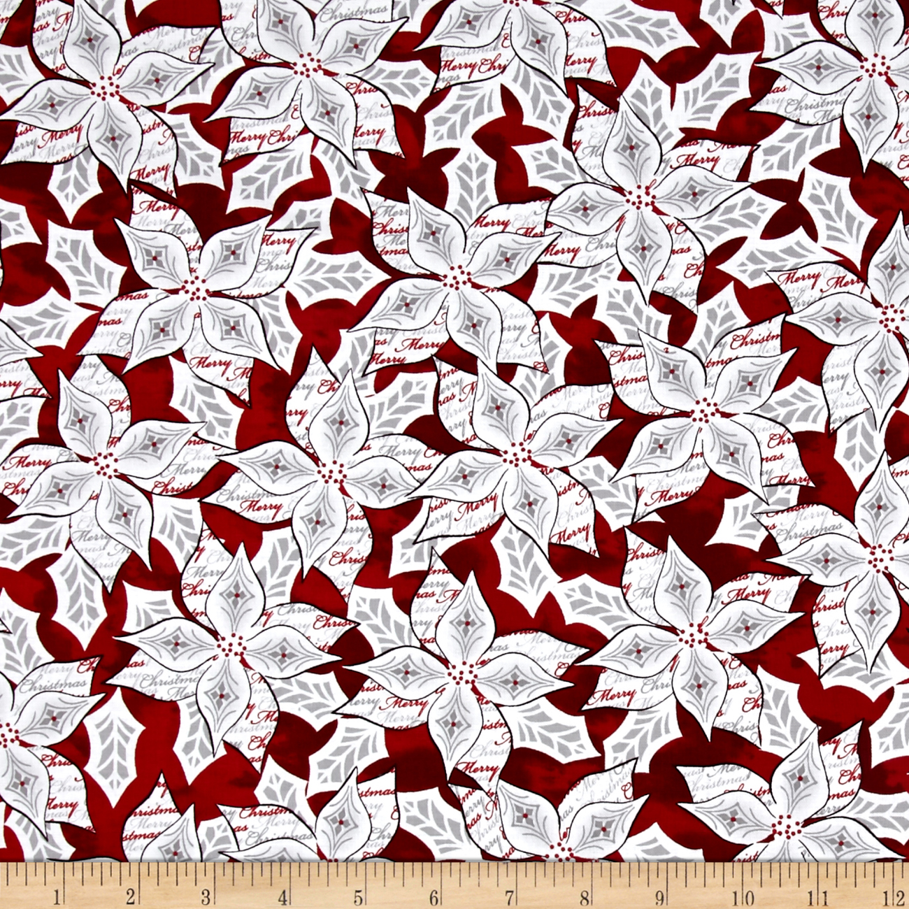 Christmas Dreams Packed Poinsettia Dark Red Fabric by Quilting Treasures in USA
