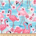 Timeless Treasures Oasis Flamingos with Floral Pink