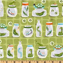 Michael Miller Backyard Baby Bug Jars Green Fabric