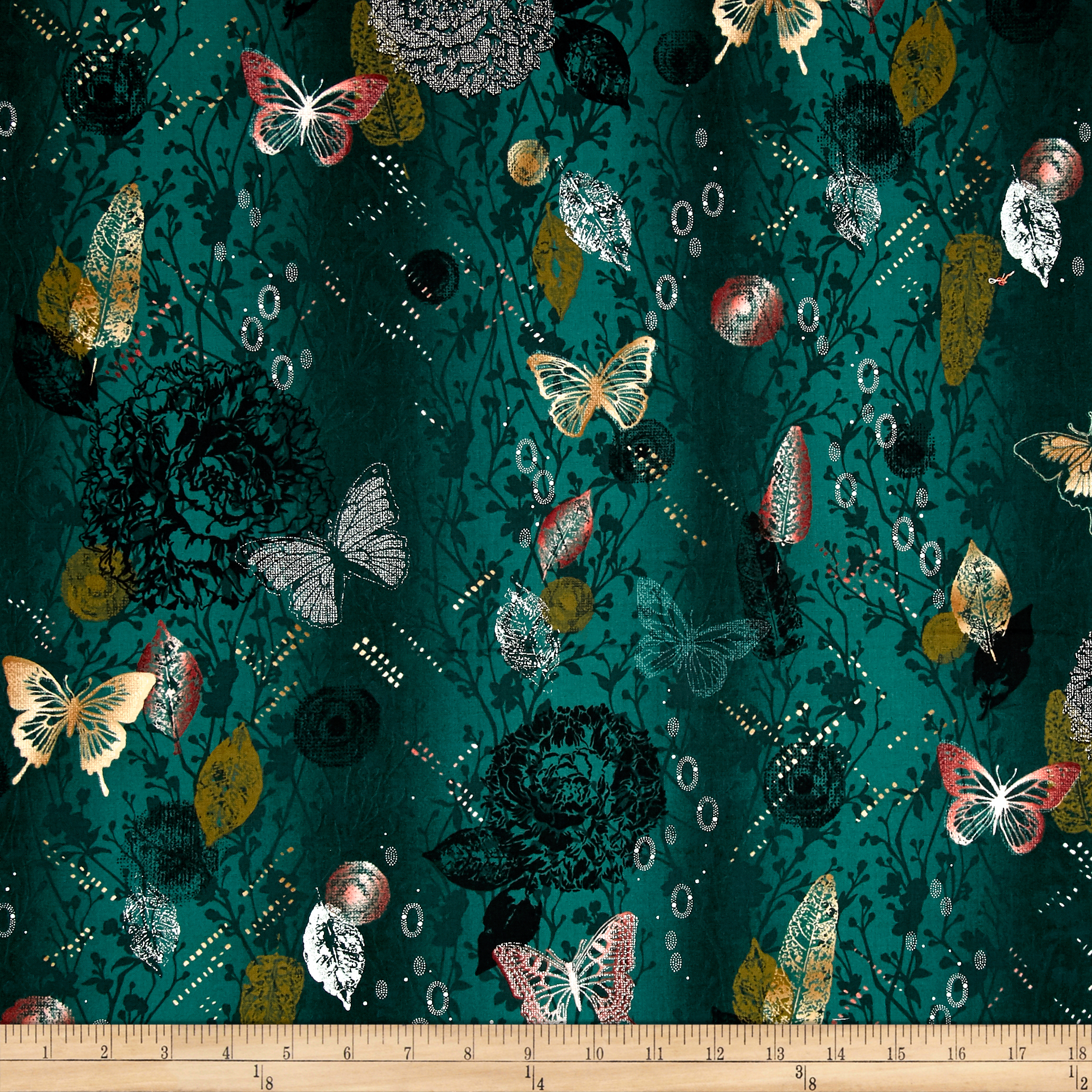 Shiny Objects Metallic Menagerie Creek Fabric by RJR in USA