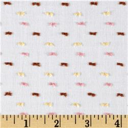 Cotton Swiss Dot Brown/Pink