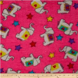 Whisper Coral Fleece Elephants Fuchsia Fabric