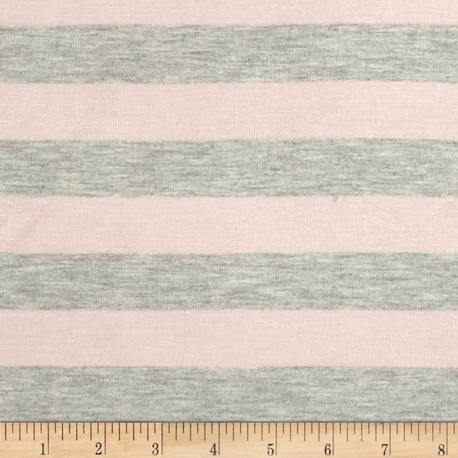 Stretch Rayon Jersey Knit Large Stripe Dusty Pink/Heather Grey