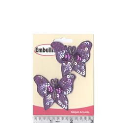 Butterfly Sequin Applique Pair Purple