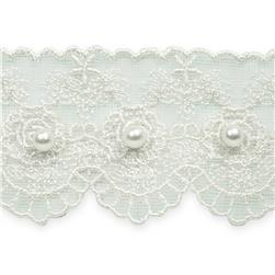 "1 5/8"" Vintage Roses with Pearl Lace Trim White"