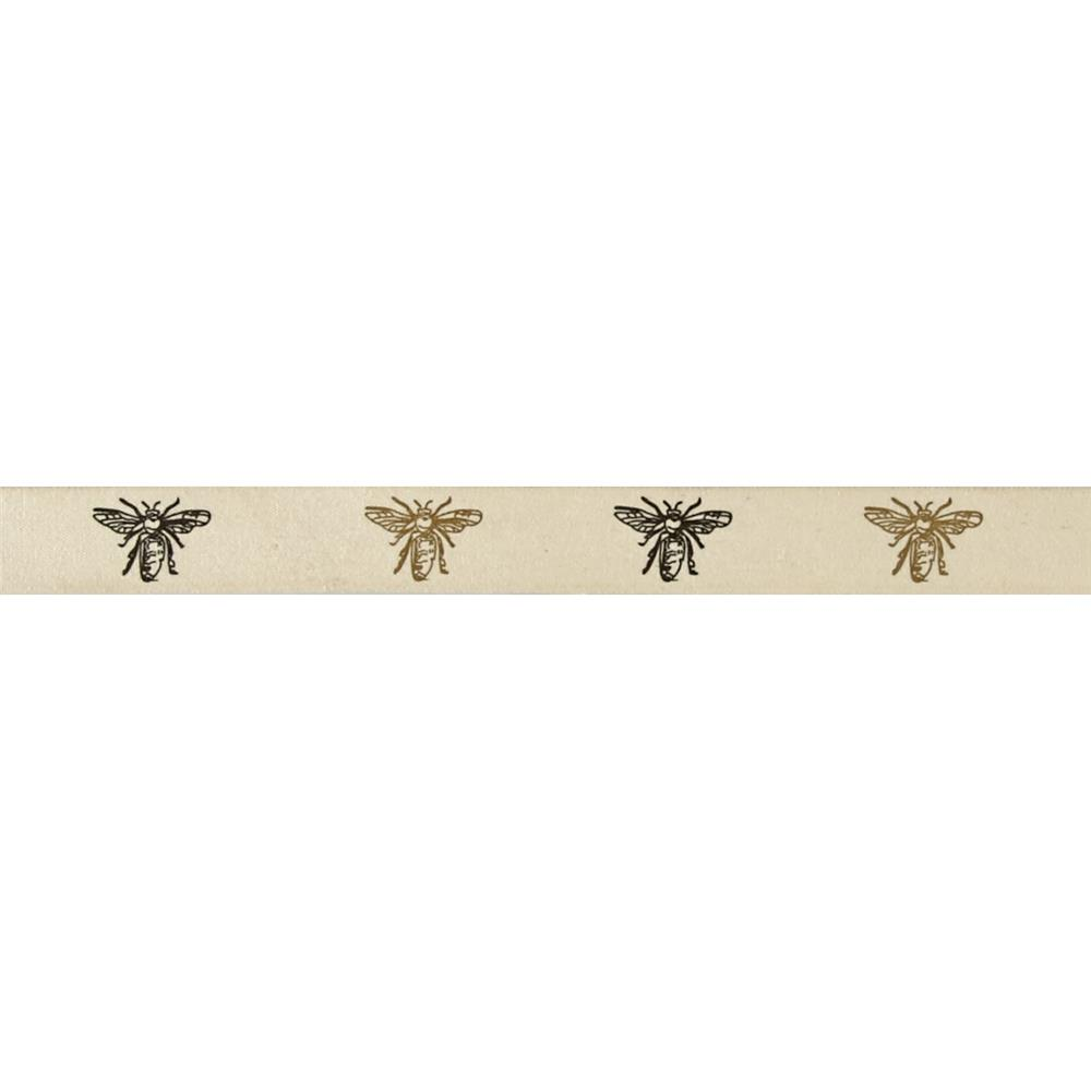"3/4"" Woven Ribbon Bees Ivory"