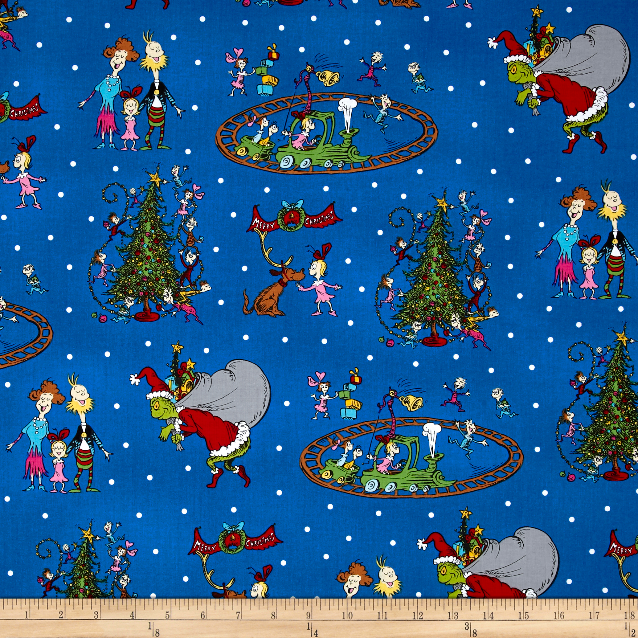 How The Grinch Stole Christmas Grinch Collage Blue Fabric By The Yard