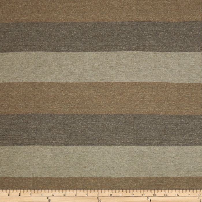 Designer Sparkle Hatchi Knit Stripe Tan Sand Fabric