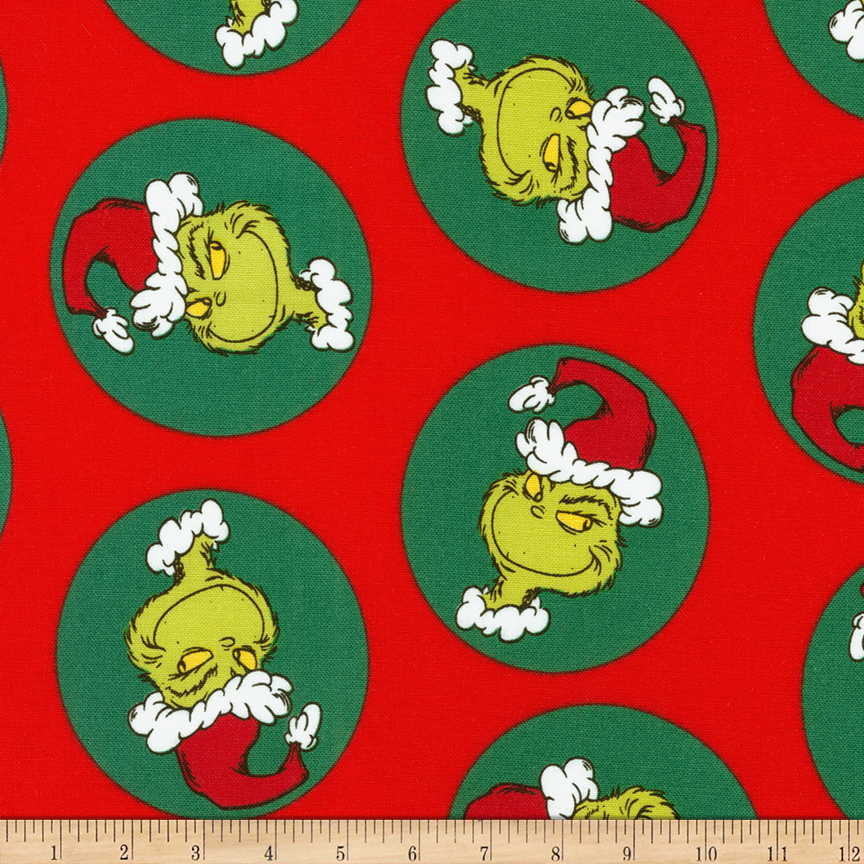 Kaufman Grinch Bubbles Holiday Fabric