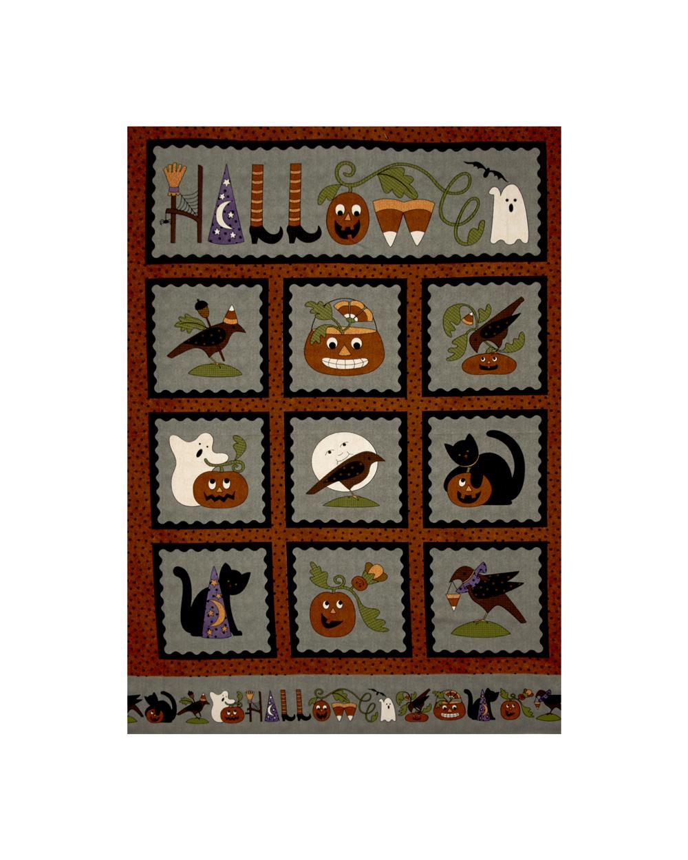 Pumpkin Party Flannel Halloween 36 In. Panel Gray Fabric By The Yard