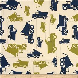 Premier Prints Toy Trucks Felix Blue/Natural Fabric