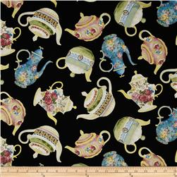 Timeless Treasures Metallic Tea Pots Black