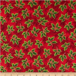 Holiday Accents Classics 2014 Holly Metallic Red Fabric