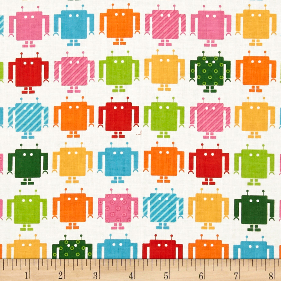 Funbots Small Robots Summer White Fabric