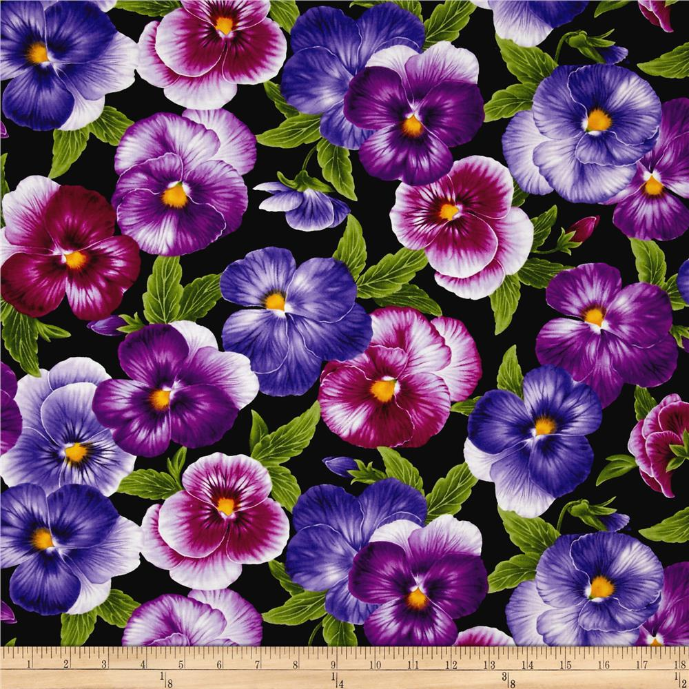 Timeless Treasures Viola Allover Pansies Black