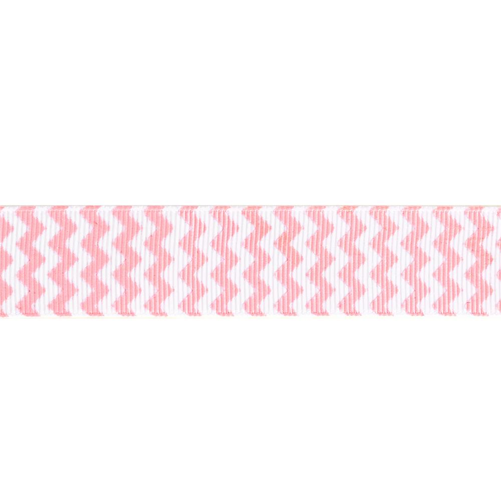 "Riley Blake 7/8"" Grosgrain Ribbon Chevron Baby Pink"