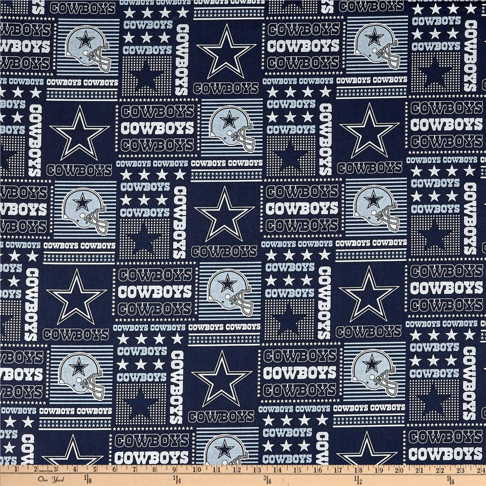 NFL Cotton Broadcloth Dallas Cowboys Patchwork Blue/White Fabric By The Yard