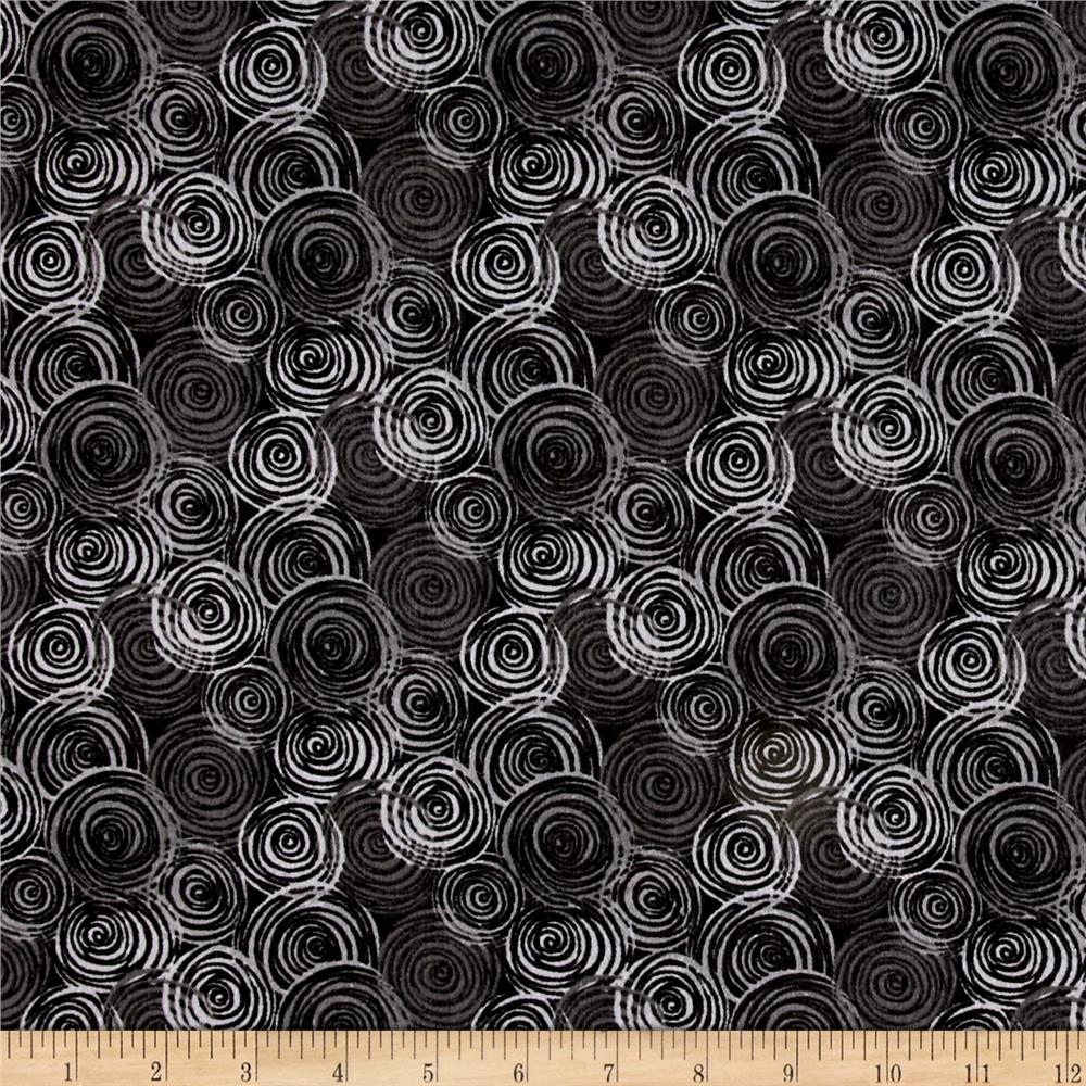 "108"" Flannel Textured Circles Gray"