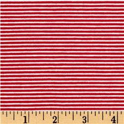 Yarn Dye Jersey Knit Mini Red/Ivory Stripes