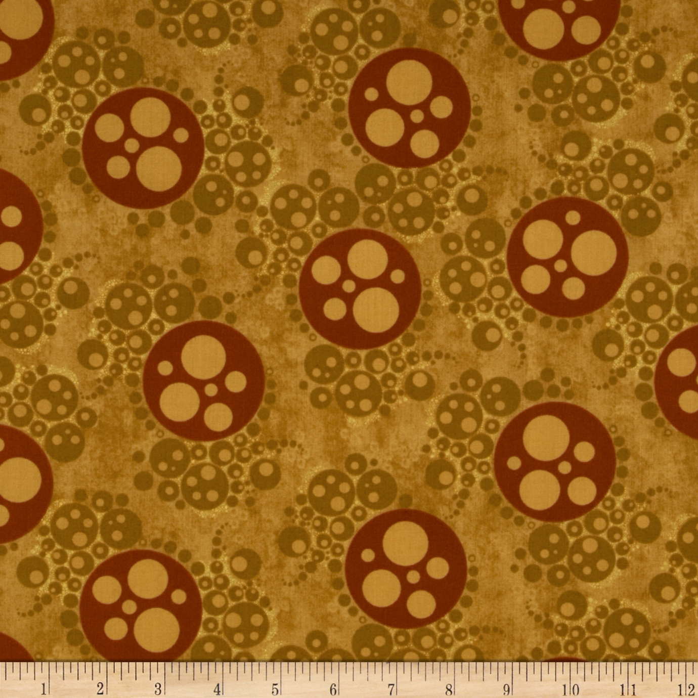 Lonni Rossi Metallic Bubbles Gold/Burgundy Fabric